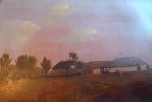 Vejrum Fattiggård (Lundbygade 4), før 1900 (maleri). Bygningen til venstre er beboelseshuset - nu nedrevet